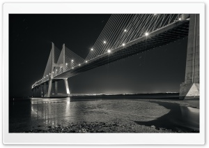 Vasco Da Gama Bridge Black and White Photography HD Wide Wallpaper for Widescreen