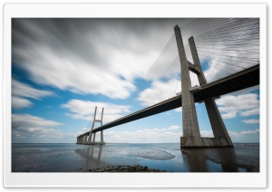 Vasco Da Gama Bridge in Lisbon HD Wide Wallpaper for 4K UHD Widescreen desktop & smartphone