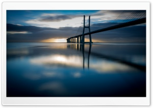 Vasco da Gama bridge, Lisbon, Portugal at sunrise HD Wide Wallpaper for Widescreen