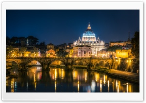 Vatican City at Night HD Wide Wallpaper for 4K UHD Widescreen desktop & smartphone