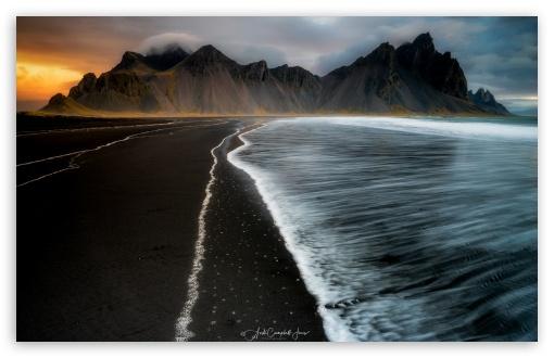 Vestrahorn Mountain Black Sand Beach Iceland Ultra Hd Desktop