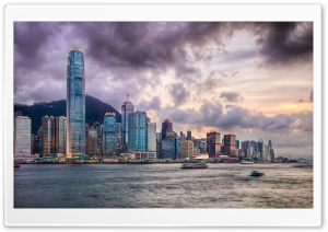 Victoria Harbour, Hong Kong HDR HD Wide Wallpaper for Widescreen
