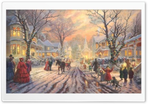 Victorian Christmas Carol by Thomas Kinkade HD Wide Wallpaper for Widescreen