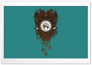 Victorian Clock Vector Art HD Wide Wallpaper for Widescreen