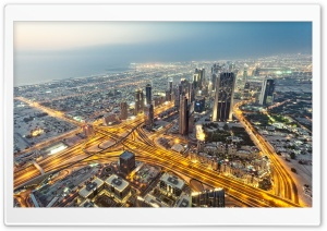 View From Burj Khalifa Dubai HD Wide Wallpaper for Widescreen