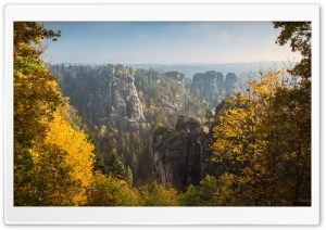 View from the Bastei, Autumn HD Wide Wallpaper for 4K UHD Widescreen desktop & smartphone