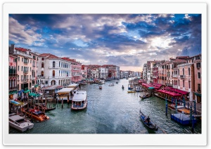 View of the Grand Canal from Rialto Bridge, Venice HD Wide Wallpaper for Widescreen