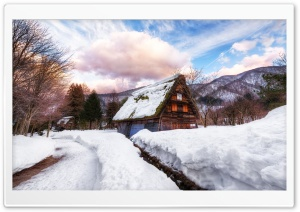 Village in Japan during Winter HD Wide Wallpaper for 4K UHD Widescreen desktop & smartphone