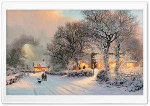 Village In Winter Painting HD Wide Wallpaper for Widescreen