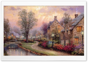 Village Painting by Thomas Kinkade HD Wide Wallpaper for 4K UHD Widescreen desktop & smartphone
