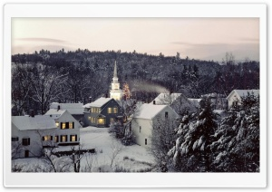 Village Winter Scene HD Wide Wallpaper for Widescreen