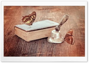Vintage Book and Butterflies HD Wide Wallpaper for Widescreen