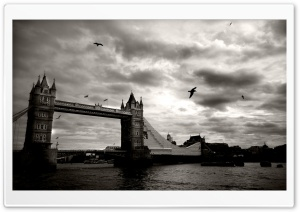 Vintage Picture Of Tower Bridge, London, UK HD Wide Wallpaper for Widescreen