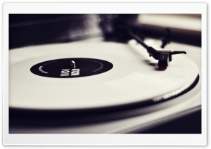 Vinyl Record Player Black And White HD Wide Wallpaper for Widescreen