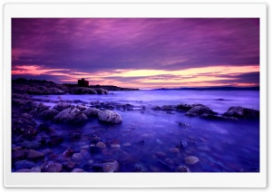 Violet Clouds And Blue Water HD Wide Wallpaper for Widescreen