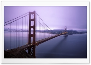 Violet Hour And Fog Surround The Golden Gate HD Wide Wallpaper for Widescreen