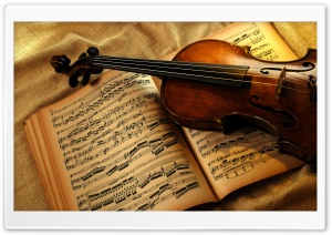 Violin And Notes HD Wide Wallpaper for Widescreen