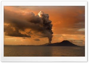 Volcanic Eruption in Papua, New Guinea HD Wide Wallpaper for Widescreen