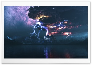 Volcano Eruption Lightning HD Wide Wallpaper for Widescreen