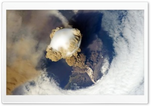 Volcano from Space HD Wide Wallpaper for Widescreen