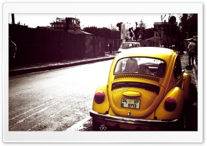Volkswagen Beetle Yellow HD Wide Wallpaper for Widescreen