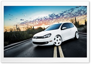Volkswagen Golf 6 White HD Wide Wallpaper for Widescreen