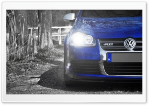 Volkswagen Golf R32 Blue HD Wide Wallpaper for 4K UHD Widescreen desktop & smartphone