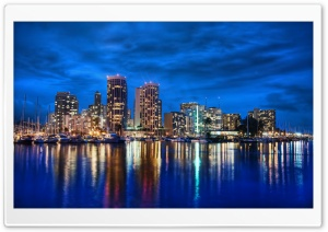 Waikiki Skyline At Night HD Wide Wallpaper for Widescreen