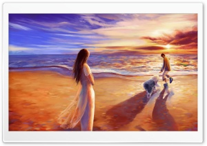 Walk On The Beach HD Wide Wallpaper for Widescreen