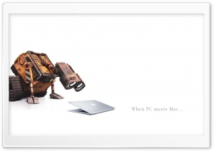 Wall-E Meets Mac HD Wide Wallpaper for Widescreen