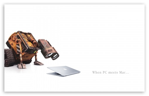 Wall-E Meets Mac HD wallpaper for Wide 16:10 5:3 Widescreen WHXGA WQXGA WUXGA WXGA WGA ; HD 16:9 High Definition WQHD QWXGA 1080p 900p 720p QHD nHD ; Standard 3:2 Fullscreen DVGA HVGA HQVGA devices ( Apple PowerBook G4 iPhone 4 3G 3GS iPod Touch ) ; Mobile 5:3 3:2 16:9 - WGA DVGA HVGA HQVGA devices ( Apple PowerBook G4 iPhone 4 3G 3GS iPod Touch ) WQHD QWXGA 1080p 900p 720p QHD nHD ; Dual 4:3 5:4 UXGA XGA SVGA QSXGA SXGA ;