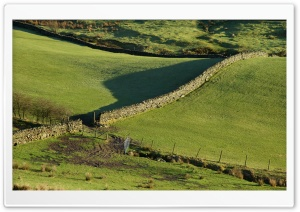 Walls, Green Fields And Morning Shadows HD Wide Wallpaper for Widescreen
