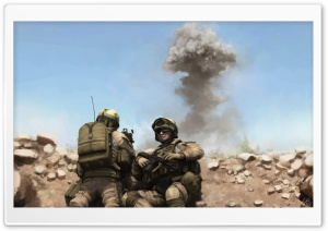 War Soldiers Painting HD Wide Wallpaper for Widescreen