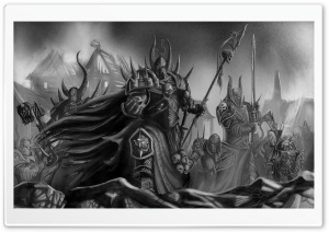 Warhammer 40000 Black and White Art HD Wide Wallpaper for Widescreen
