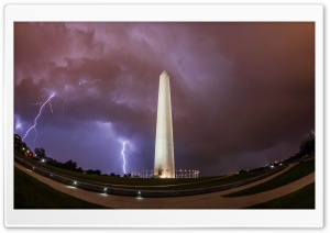 Washington Monument, Thunderstorm HD Wide Wallpaper for 4K UHD Widescreen desktop & smartphone
