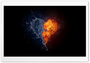 Water And Flames Heart HD Wide Wallpaper for Widescreen