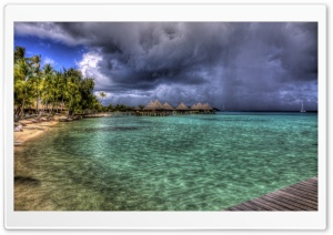Water Bungalows HDR HD Wide Wallpaper for Widescreen