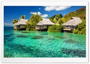 Water Bungalows On A Tropical Island HD Wide Wallpaper for Widescreen