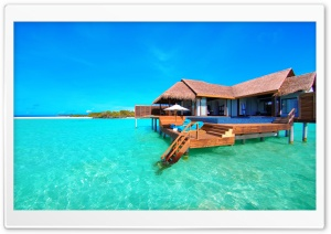 Water Bungalows On A Tropical Island HD Wide Wallpaper for 4K UHD Widescreen desktop & smartphone