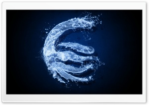 Water Euro Sign HD Wide Wallpaper for Widescreen