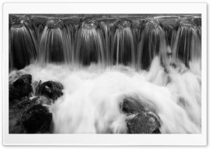 Waterfall Black And White HD Wide Wallpaper for Widescreen
