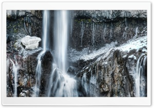 Waterfall In Winter Time HD Wide Wallpaper for 4K UHD Widescreen desktop & smartphone