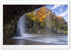 Waterfall Over Cave Autumn HD Wide Wallpaper for 4K UHD Widescreen desktop & smartphone