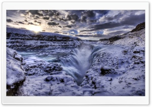 Waterfall Rift, Iceland HD Wide Wallpaper for 4K UHD Widescreen desktop & smartphone
