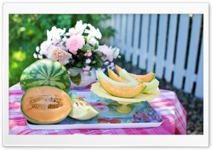 Watermelon, Cantaloupe, and Honeydew Melon HD Wide Wallpaper for Widescreen