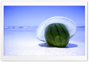 Watermelon On The Beach HD Wide Wallpaper for Widescreen