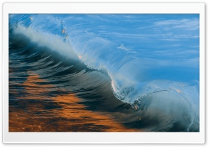 Wave Blue and Golden HD Wide Wallpaper for Widescreen