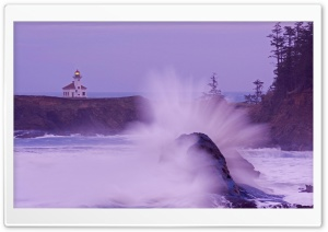 Wave Cape Arago Lighthouse Oregon Coast HD Wide Wallpaper for Widescreen