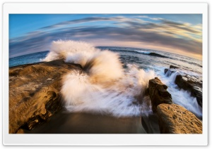 Wave Crashing on Rock HD Wide Wallpaper for Widescreen