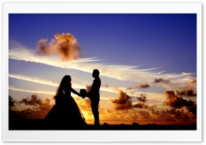 Wedding Tropical Sunrise Silhouette HD Wide Wallpaper for Widescreen